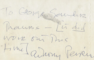 Autographs: ANTHONY PERKINS - AUTOGRAPH NOTE SIGNED CO-SIGNED BY: ROY EDWARD MARQUARDT