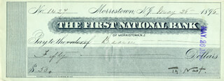 THOMAS NAST - AUTOGRAPHED SIGNED CHECK 05/26/1896