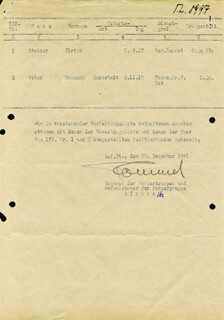 GENERAL ERWIN THE DESERT FOX ROMMEL - DOCUMENT SIGNED 12/29/1941