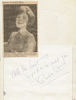 ROBERTA PETERS - AUTOGRAPH SENTIMENT SIGNED
