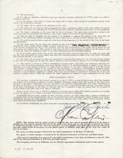 Autographs: JAY TONTO SILVERHEELS - CONTRACT SIGNED 04/01/1966