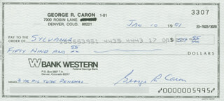 ENOLA GAY CREW (GEORGE R. CARON) - AUTOGRAPHED SIGNED CHECK 01/10/1991