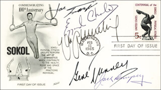 Autographs: JACK DEMPSEY - FIRST DAY COVER SIGNED CO-SIGNED BY: GENE TUNNEY, EZZARD CHARLES, JOE SMOKIN JOE FRAZIER, MAX SCHMELING