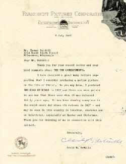 CECIL B. DEMILLE - TYPED LETTER SIGNED 07/08/1957