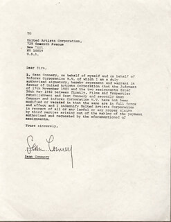 SEAN CONNERY - DOCUMENT SIGNED