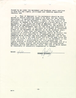 GEORGE CLOONEY - DOCUMENT SIGNED 10/10/1989
