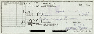 AMANDA MISS KITTY BLAKE - AUTOGRAPHED SIGNED CHECK 04/01/1970