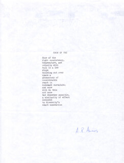 Autographs: A. R. AMMONS - POEM SIGNED