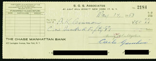 CARLO DON CARLO GAMBINO - AUTOGRAPHED SIGNED CHECK 05/14/1963 CO-SIGNED BY: HENRY SALTZSTEIN