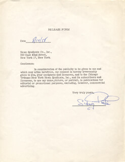 SIDNEY POITIER - DOCUMENT SIGNED 08/14/1958