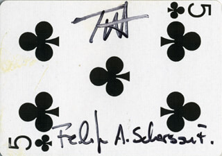 Autographs: FELIPE A. SCHERSON - PLAYING CARD SIGNED CO-SIGNED BY: TODD M. AXELROD