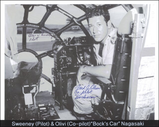 BOCK'S CAR CREW - AUTOGRAPHED SIGNED PHOTOGRAPH CO-SIGNED BY: BOCK'S CAR CREW (FRED OLIVI), BOCKSCAR CREW (MAJOR GENERAL CHARLES W. SWEENEY)