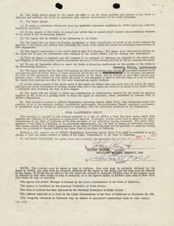 MICKEY ROONEY JR. - CONTRACT SIGNED 11/01/1951