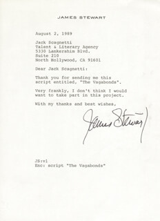 JAMES JIMMY STEWART - TYPED LETTER SIGNED 08/02/1989