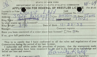 ERNIE LADD - APPLICATION SIGNED 02/19/1968  - HFSID 258812
