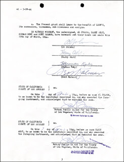 AL JOLSON - CONTRACT SIGNED 04/07/1944 CO-SIGNED BY: HARRY AKST, HERMAN RUBY, BERT KALMAR