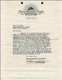 LOUIS B. MAYER - DOCUMENT SIGNED 09/25/1926