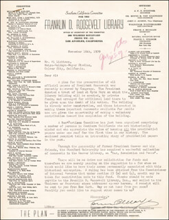 LOUIS B. MAYER - TYPED LETTER SIGNED 11/16/1939