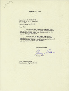 GEORGE D. CUKOR - TYPED LETTER SIGNED 11/17/1944