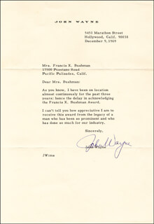 JOHN DUKE WAYNE - TYPED LETTER SIGNED 12/09/1969