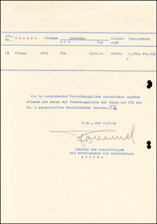 GENERAL ERWIN THE DESERT FOX ROMMEL - DOCUMENT SIGNED 10/26/1941