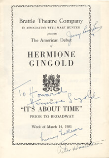IT'S ABOUT TIME PLAY CAST - INSCRIBED SHOW BILL SIGNED CIRCA 1951 CO-SIGNED BY: MURRAY MATHESON, HERMIONE GINGOLD, JENNY LOU LAW, PETER HAMILTON, LEE MURRAY, BILL SHIRLEY, VERA LEE, ROBERT GALLAGHER
