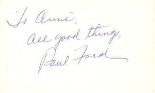 PAUL FORD - AUTOGRAPH NOTE SIGNED