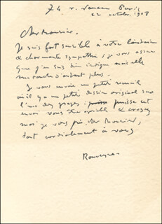 ANDRE ROUVEYRE - AUTOGRAPH LETTER SIGNED 10/22/1908