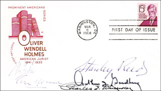 Autographs: ASSOCIATE JUSTICE STANLEY F. REED - FIRST DAY COVER SIGNED CO-SIGNED BY: ASSOCIATE JUSTICE ABE FORTAS, ASSOCIATE JUSTICE CHARLES E. WHITTAKER, ASSOCIATE JUSTICE TOM C. CLARK, ASSOCIATE JUSTICE ARTHUR J. GOLDBERG