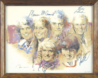Autographs: BRADY BUNCH TV CAST - LITHOGRAPH SIGNED CO-SIGNED BY: BARRY WILLIAMS, CHRIS KNIGHT, MICHAEL LOOKINLAND, MAUREEN McCORMICK, GERI REISCHL, SUSAN OLSEN