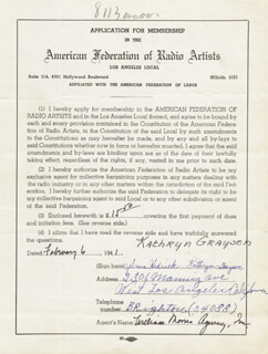 KATHRYN GRAYSON - APPLICATION SIGNED 02/06/1941