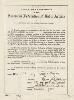 Autographs: JAMES GLEASON - APPLICATION SIGNED 11/11/1937