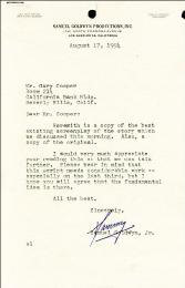 SAMUEL GOLDWYN JR. - TYPED LETTER SIGNED 08/17/1954