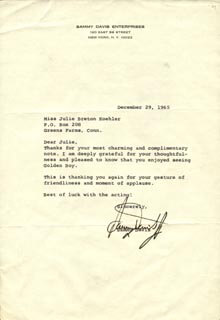 SAMMY DAVIS JR. - TYPED LETTER SIGNED 12/29/1965