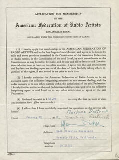 MARLENE DIETRICH - APPLICATION SIGNED 01/29/1938