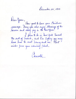 CARROLL O'CONNOR - AUTOGRAPH LETTER SIGNED 12/25/1973