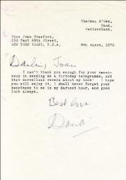 DAVID NIVEN - TYPED LETTER SIGNED 03/08/1972