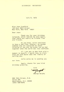 GEORGE MURPHY - TYPED LETTER SIGNED 07/06/1973