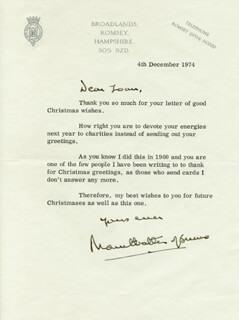 Autographs: ADMIRAL LOUIS MOUNTBATTEN - TYPED LETTER SIGNED 12/04/1974