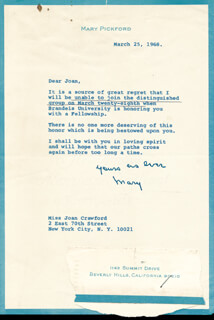 MARY PICKFORD - TYPED LETTER SIGNED 03/25/1968