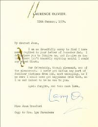 LAURENCE OLIVIER - TYPED LETTER SIGNED 01/11/1974