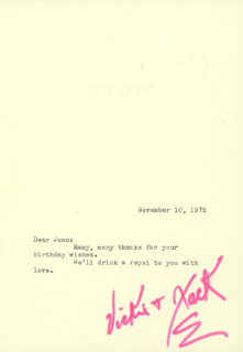 JACK OAKIE - TYPED NOTE SIGNED 11/10/1975