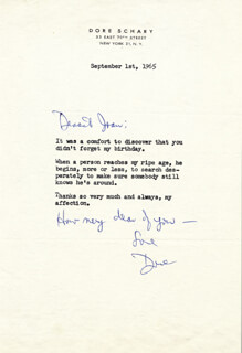 DORE SCHARY - TYPED LETTER SIGNED 09/01/1965