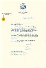 Autographs: VICE PRESIDENT NELSON A. ROCKEFELLER - TYPED LETTER SIGNED 08/30/1966