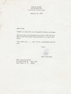 WILLIAM HOLDEN - TYPED LETTER SIGNED 01/11/1972