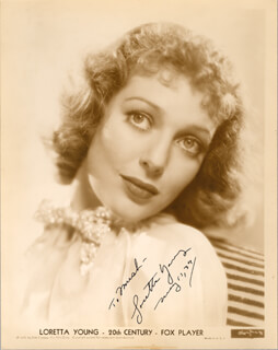 LORETTA YOUNG - AUTOGRAPHED INSCRIBED PHOTOGRAPH 05/10/1937
