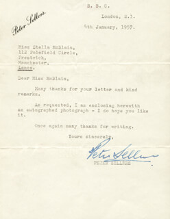PETER SELLERS - TYPED LETTER SIGNED 01/04/1957