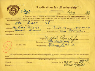 HAL ROACH JR. - APPLICATION DOUBLE SIGNED 06/23/1938 CO-SIGNED BY: WILLIAM COLLIER SR., ALAN MOWBRAY