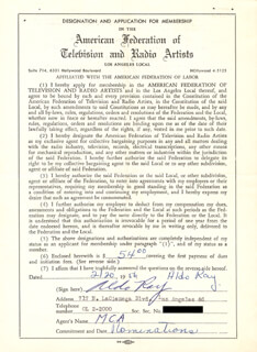 ALDO RAY - DOCUMENT SIGNED 02/20/1956