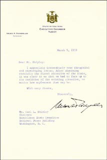 Autographs: VICE PRESIDENT NELSON A. ROCKEFELLER - TYPED LETTER SIGNED 03/09/1959